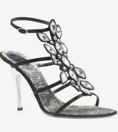 Rene Caovilla Black And Crystal Sandal
