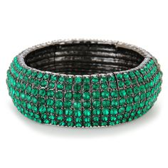Kenneth Cole Faceted Crystal Stretch Bangle #VonMaur #StPatricksDay #Green