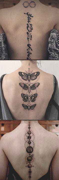 Quote Script Spine Tattoo Ideas for Women - Feminine Butterfly Back Tat - Moon Idées de tatouage mignon pour les femmes - www.MyBodiart.com