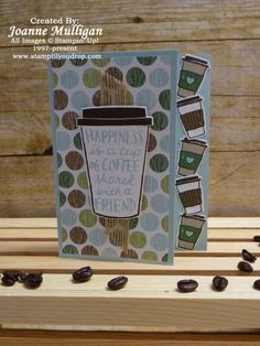 From the Coffee Break Suite by Stampin' Up! featuring Coffee Cafe stamp set, Coffee Cups Framelits and Coffee Break Designer Series Paper. All designs by Joanne Mulligan, Independent Stampin' Up! Demonstrator.
