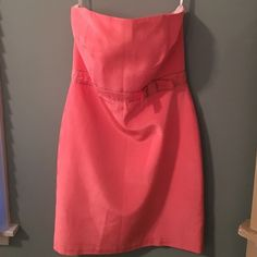 Melly M pink doupini silk strapless dress with bow Melly M pink doupini silk strapless dress with bow. Dry cleaner tag still on. Metal stays to give a nice contoured body shape Melly M Dresses Strapless