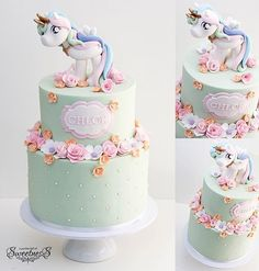 Pretty pastel unicorn birthday cake with flowers // #unicorncake #unicornbirthday #unicornparty