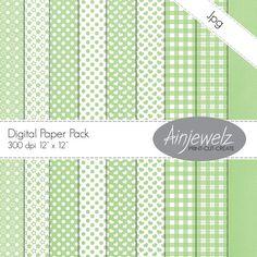 Mint Little Pastels Paper Pack  INSTANT DOWNLOAD by Ainjewelz