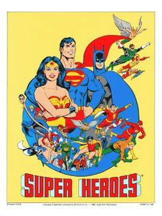 """""""DC Super Heroes"""" by José Luis García-López (Note who's in front.)"""