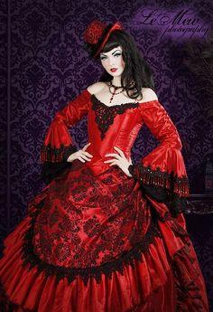 Steampunk Wedding Theme | Steampunk/Neo-Victorian Wedding Theme / Gothic Victorian Flocked Gown ...