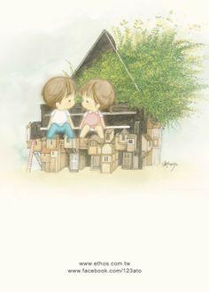 插畫家Ato Recoverl:點點滴滴的情感,宛如優美的樂曲, 隨微風吹進心裡,音符跳動,心跟著跳動...來源http://www.facebook.com/123ato