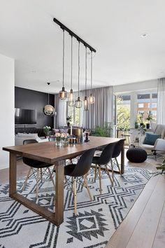47 Creative Scandinavian Dining Room Design Ideas That Inspire You Dining Room Design, Dining Room Table, Dining Set, Home Living, Living Room, Sala Vintage, Inside Design, Industrial Style, Vintage Industrial