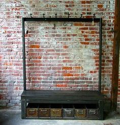 Lovely Industrial clothing rail. Great Inspiration! :)  Check also our Fashionable lightweight  and foldable design of a clothing rail.