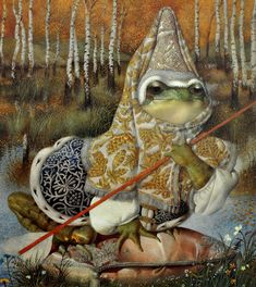 Gennady Spirin's illustration for tale 'The Frog Princess'. Art And Illustration, Frog Princess, Frog Art, Fairytale Art, Frog And Toad, Illustrators, Fantasy Art, Fairy Tales, Drawings