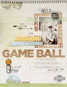 Gameball by Lisa Truesdell.  Love all the little stamped arrows and flags.