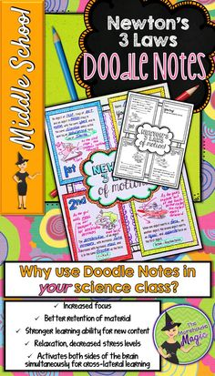 This Newton's Laws of Motion Doodle Note is a graphic organizer in which students can define each law, explain a picture that depicts each law, and provide their own examples of each law. This would be great to include in an interactive notebook!