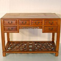 "Vintage Asian Chinese Furniture, 45"" Wide 6 Drawer Table Desk"