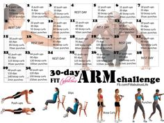 Its a 30 Day Arm Challenge! You've been asking for it, are you ready? Time for a new monthly challenge, and this time we are going to work on getting those sexy tank top arms! You can modify all these moves for your fitness level: Start pushups with your knees down or leaning against the couch or a counter. Do you bicep curls with our without weights. Break down each move into smaller sets if needed, but just challenge yourself. Change doesn't occur if you dont push yourself farther!