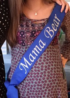 Mama Bear sash for mom baby shower - silver heat transfer letters on blue ribbon