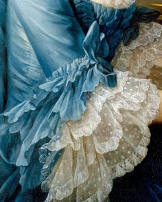 Sleeve, ruche, and three tired lace ruffles detail from François Hubert Drouais' 1757 painting of the French actress Madame Charles Simon Favart (Marie Justine Benoîte Duronceray). See full length painting here: http://pinterest.com/pin/278589926921051691/