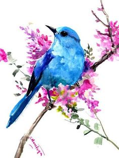 Your place to buy and sell all things handmade Floral Bird artwork Mountain Bluebird, blue pink green bird artwork, original watercolor painting, one of a kind birds of USA by ORIGINALONLY on Etsy Spring Drawing, Spring Painting, Spring Art, Spring Garden, Watercolor Bird, Watercolor Animals, Simple Watercolor, Tattoo Watercolor, Watercolor Landscape