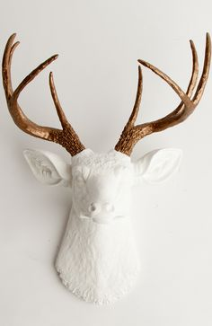 White Deer Head Wall Mount W/ Bronze Antlers | The Lydia By White Faux Taxidermy Animal Decor
