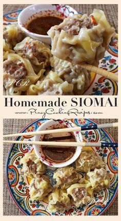 Easy to make Siomai (Filipino Dumplings) with delicious dipping sauce.Easy to make Siomai (Filipino Dumplings) with delicious dipping sauce. Pinoy Food Filipino Dishes, Filipino Desserts, Filipino Appetizers, Easy Filipino Recipes, Healthy Recipes, Asian Recipes, Cooking Recipes, Vegetarian Recipes, Asian Foods