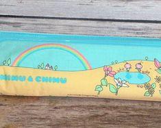 Vintage 70s 80s Victoria Fancy Gaaken Mimu and Chimu Rainbow Zip Pencil Case Pastel Kawaii