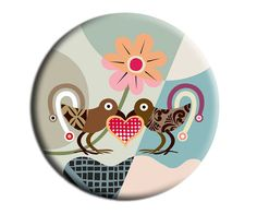 Fridge Magnet Love Birds, Gift Idea, 2. 25 inches diameter and 0.25 inches thick $6.25 USD https://www.etsy.com/ca/listing/155846171/fridge-magnet-love-birds-gift-idea-2-25?ref=shop_home_active