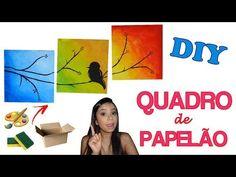DIY Quadro Colorido de Papelão! AQUARELA! Faça você mesmo! - YouTube