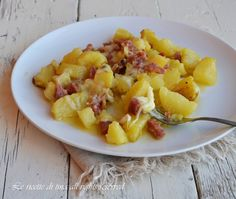 patate in padella,patate con formaggio e salame,patate con formaggio in padella,patate filanti,le ricette di tina