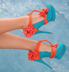 Orange Chiffon Heel Condoms at HighHeelJunkie. Cute Shoes, Me Too Shoes, Awesome Shoes, Suede Heels, Shoes Heels, Orange Heels, Blue Orange, Aqua, Coral Turquoise