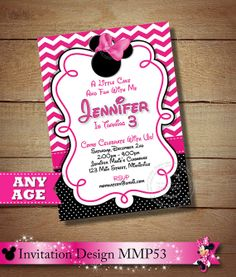 HUGE SELECTION Pink Chevron Minnie Mouse Printable Invitation, 2nd 3rd 4th 5th 6th Birthday Invitation