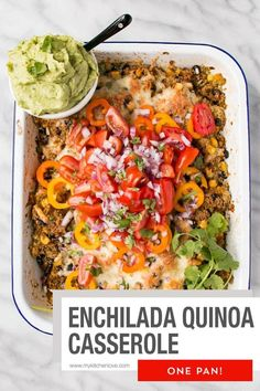 One pan cheesy Enchilada Quinoa Casserole makes Meatless Monday a truly tasty event! Completely hands-off recipe! A truly easy quinoa recipe. Quinoa Recipes Easy, Healthy Casserole Recipes, Best Vegetarian Recipes, Mexican Food Recipes, Dinner Recipes, Healthy Recipes, Delicious Recipes, Dinner Ideas, Healthy Food