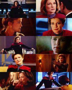 Captain Katherine Janeway of the Federation Starship Voyager. :) My favorite star trek captain. :)