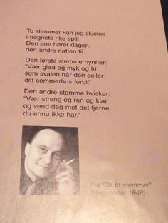 Av Andre Bjerke Quality Quotes, Lyrics, Education, My Love, Words, Awesome, Crafts, Diy, Photo Illustration