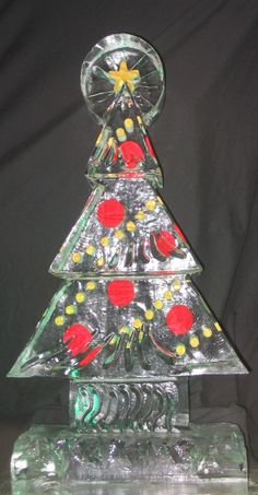 Colored Christmas Tree Ice Sculpture
