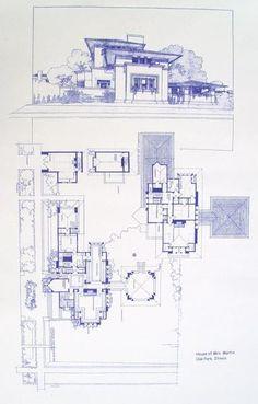 Frank Lloyd Wright - Fricke House Blueprint by BlueprintPlace on Etsy