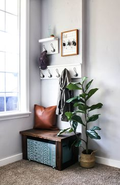 Looking for small foyer ideas? This reveal will get your wheels turning to plan your own entryway design! Come see how our entryway decor looks in this modern farmhouse entryway reveal! #entryway #verysmall #entryideas #modernfarmhouse
