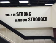 Gym Design Decor, Gym Wall Quote, Walk In Strong Walk Out Stronger Fitness Studio Entrance Design Ideas Sport Motivation, Fitness Motivation, Fitness Gym, Fitness Studio, Fitness Shirts, Fitness Equipment, Motivation Quotes, Pilates Studio, Arquitetura