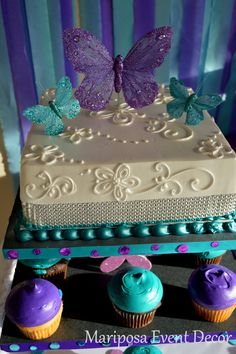 Decorated cake at a Butterfly Kisses Party #butterfly #partycake