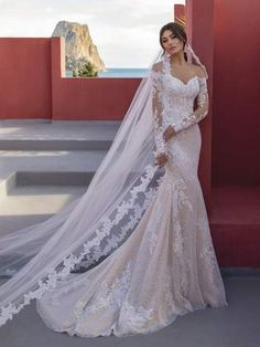 Lace Wedding Dress With Sleeves, Cute Wedding Dress, Lace Mermaid Wedding Dress, Wedding Dress Trends, Long Sleeve Wedding, Long Wedding Dresses, Tulle Wedding, Mermaid Dresses, Wedding Dress Styles