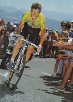 cadenced:  Sean Kelly, one of cycling's true hard men with a long list of victories to prove it including the UCI Road World Cup (1989), Milan – San Remo (1986, 1992), Paris–Roubaix (1984, 1986), Liège–Bastogne–Liège (1984, 1989), Giro di Lombardia: (1983, 1985, 1991) as well as winning the Vuelta (1988) and the maillot vert (1982,1983, 1985)…impressive. Picture was taken in the 1989 Tour de France and comes from Numerius' flickr stream.