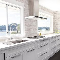 Modern White Kitchens kitchen tour | herringbone backsplash, modern white kitchens and