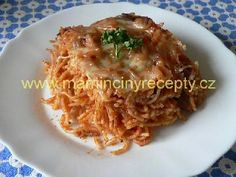 Zapečené špagety s masem Macaroni And Cheese, Spaghetti, Meat, Chicken, Ethnic Recipes, Food, Mac Cheese, Beef, Meal