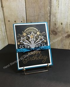 Birthday Blast stamp, Star Blast Edgelits. CS: Pacific Point, WW, Basic Black. Ink: Versa Mark. Gold EP. Pacific Point ribbon.