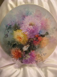 """Absolutely Superb Limoges France 15 ¾"""" Hand Painted Artistry Of Gorgeous Vivid Chrysanthemums ~ Stunning Antique Plaque Charger Chop Plate Tray Victorian Heirloom Floral Art China Paintings Artist Signed Fine French Porcelain Jean Pouyat circa 1891"""