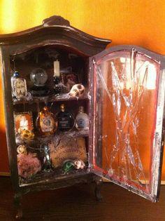 Miniature Dollhouse Halloween Spooky Armoire Closet Handmade by Piera 1:12 scale #handmade