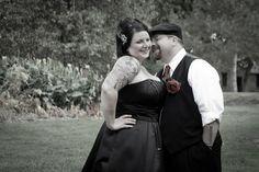 Black dress, tattooed bride, short hair!