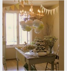 Farmhouse Dining Room - eclectic - dining room - seattle - Jana R. Bridal Shower Decorations, Table Decorations, Farmhouse Chic, Vintage Farmhouse, Celebrate Good Times, Serving Table, Birthday Design, Party Entertainment, Party Time