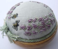 Lavender and Bees Pincushion Pattern and Print by lornabateman22