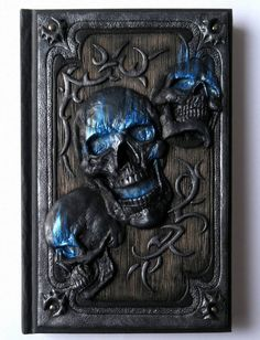 Skulls larger A5 polymer clay journal horror gothic by ClaymanPL