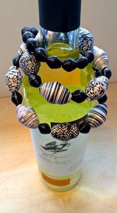 Handmade paper bead jewelry.