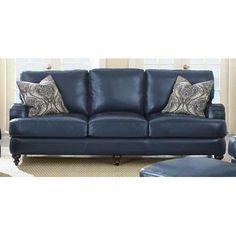 Blue leather roll arm sofa