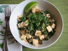 Nutty stir-fry recipe with collards and tofu from Bistro Katie. Not sure about this one, but it looks worth trying!